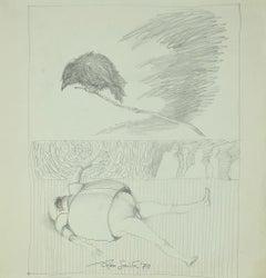 The Guardian - Original Original Drawing on Paper - 1970