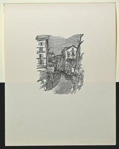 Colle di Val d'Elsa - Original Woodcut by Ernesto Romagnoli - 1963