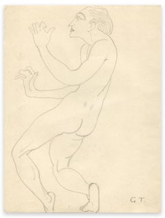 Naked Man Standing - Original Drawing by G.-H. Tribout - Early 20th Century