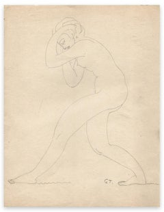 Standing Naked Woman - Original Drawing by G.-H. Tribout - Early 20th Century