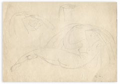 Naked Woman and Head - Original Drawing by G.-H. Tribout - Mid 20th Century