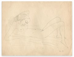 Naked Woman Lying - Original Drawing by George-Henri Tribout - Mid-20th Century