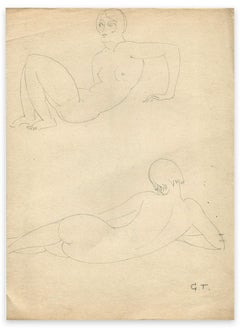 Two Naked Woman Face - Original Drawing by G.-H. Tribout - Early 20th Century