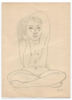 Seated Naked Woman - Drawing by George-Henri Tribout - Early 20th Century