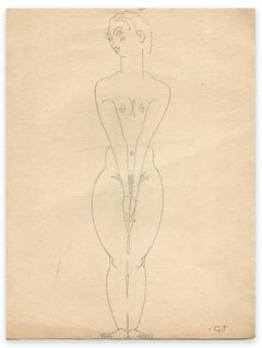 Naked Woman Standing - Drawing by George-Henri Tribout - Early 20th Century