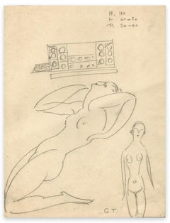 Two Naked Women - Original Drawing by George-Henri Tribout - Early 20th Century