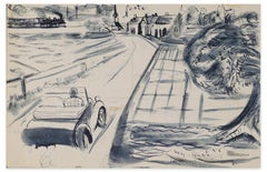 Car on the Road - Original Ink and Watercolor on Paper - Mid-20th Century