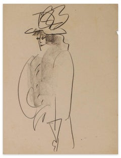 Woman with Coat and Hat - Original Ink Drawing on Paper - Mid-20th Century
