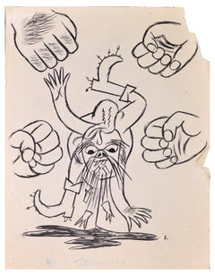 Four Fists - Original Ink Drawing on Paper - Mid-20th Century