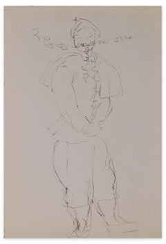 Costumed Character - Original Ink Drawing on Paper - Mid-20th Century