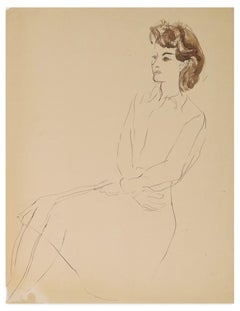 Femme Assise en Robe - Original Ink and Watercolor by L. Touchagues - Early 1900
