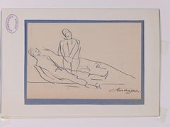 Man Lying and Standing - Original Ink by L. Touchagues - Early 20th Century