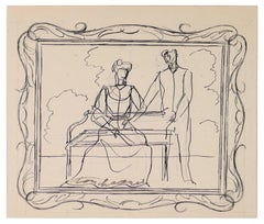 Decor in Frame - Original Ink Drawing by Louis Touchagues - Mid-20th Century
