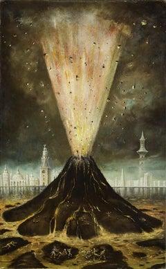 The Volcano - Original Oil Painting by Stanislao Lepri - 1968