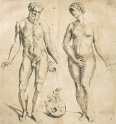 Man and Woman -  De Humani Corporis Fabrica - by Andrea Vesalio - 1642