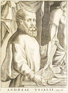 De Humani Corporis Fabrica, Portrait of the Author Andrea Vesalio - 1642