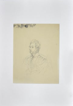 Portrait of Man - Original Pencil Drawing - Late 19th Century