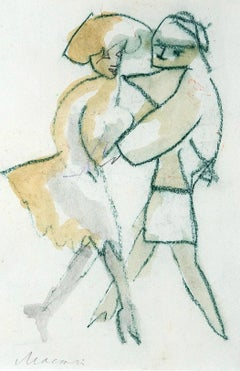 Dancers - Original Oil Pastel and Watercolor by Mino Maccari - 1980s