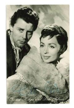 Autograph Portraiir of Gérard Philipe und Lilli Palmer - b/w Postcard - 1960s