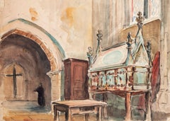 Church Interior - Ink and Watercolor by J. R. Leblanc - Early 20th Century