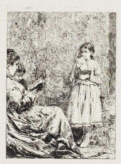 The Reading - Original Etching by Pio Joris - Early 20th Century