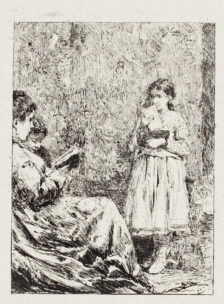 The Reading is a  beautiful etching print artwork realized by Pio Joris in the early 20th Century.   In very good condition.  Included a Passepartout: 49 x 34 cm.  Pio Joris (1843–1922) was an Italian painter. He was born in Rome. While still very