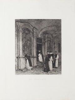 In Prayer - Original Etching by Federico Pastoris - 19th Century
