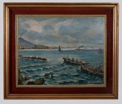 Boats Fishing in the Naples - Oil Painting by V. Colucci - Mid-20th Century
