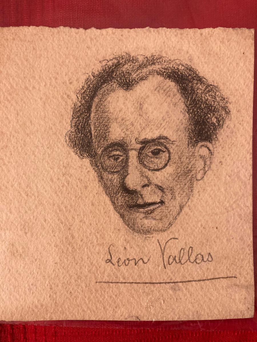 Portrait of Musicologist Léon Vallas - Original Drawing - Mid-20th Century