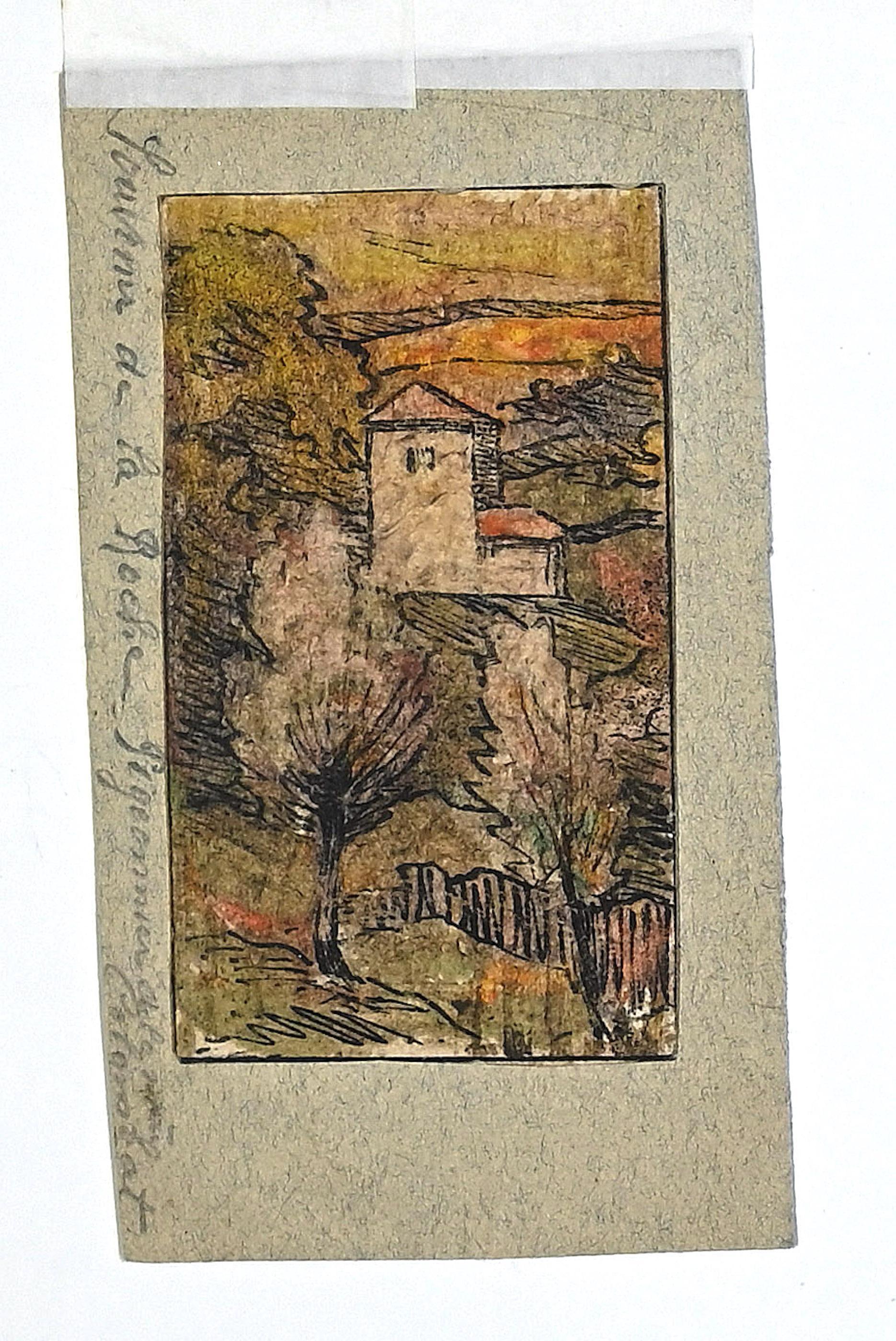 Souvenir de la Roche - Original China Ink and Watercolor - 19th Century