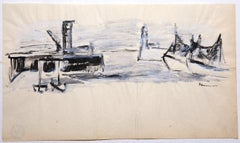 Boats - Original Drawing on Paper by Raoul Hausmann - 1950s