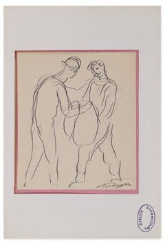 Figures - Original Ink Drawing by Louis Touchagues - Mid-20th century