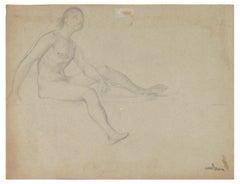 Corp Assis avec Veilage - Original Pencil by Lionel Noel Royer - 1900s