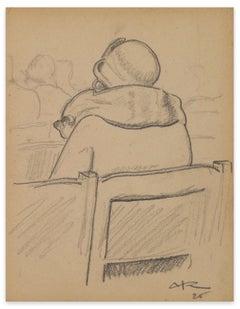 Figure - Original Pencil by Auguste Jean Baptiste Roubille - 1925