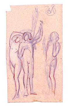 Woman Standing Arms Raised - Original Ink and Pencil by Alexis Mérodack-Jeanneau