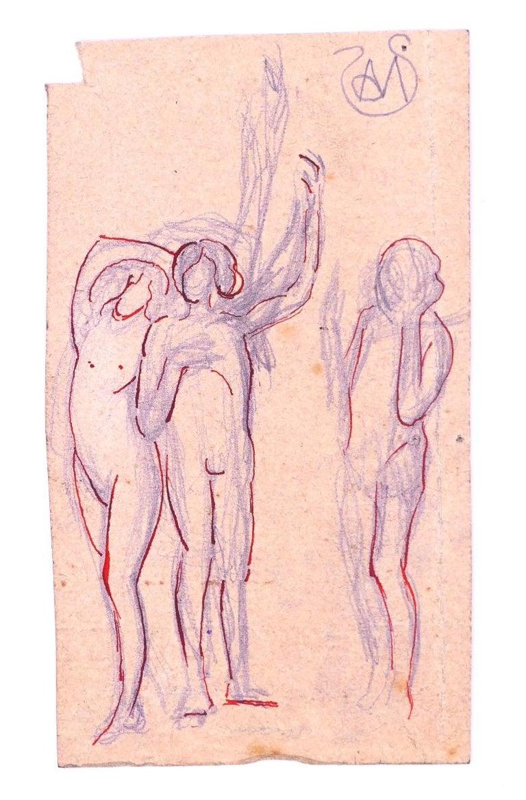 Woman standing arms raised is an original ink and pencil drawing and red line on paper realized by Alexis Mérodack-Jeanneau in the early 20th century.  Hand-signed by the artist, on the top right margin.  The artwork represents a profile of nude