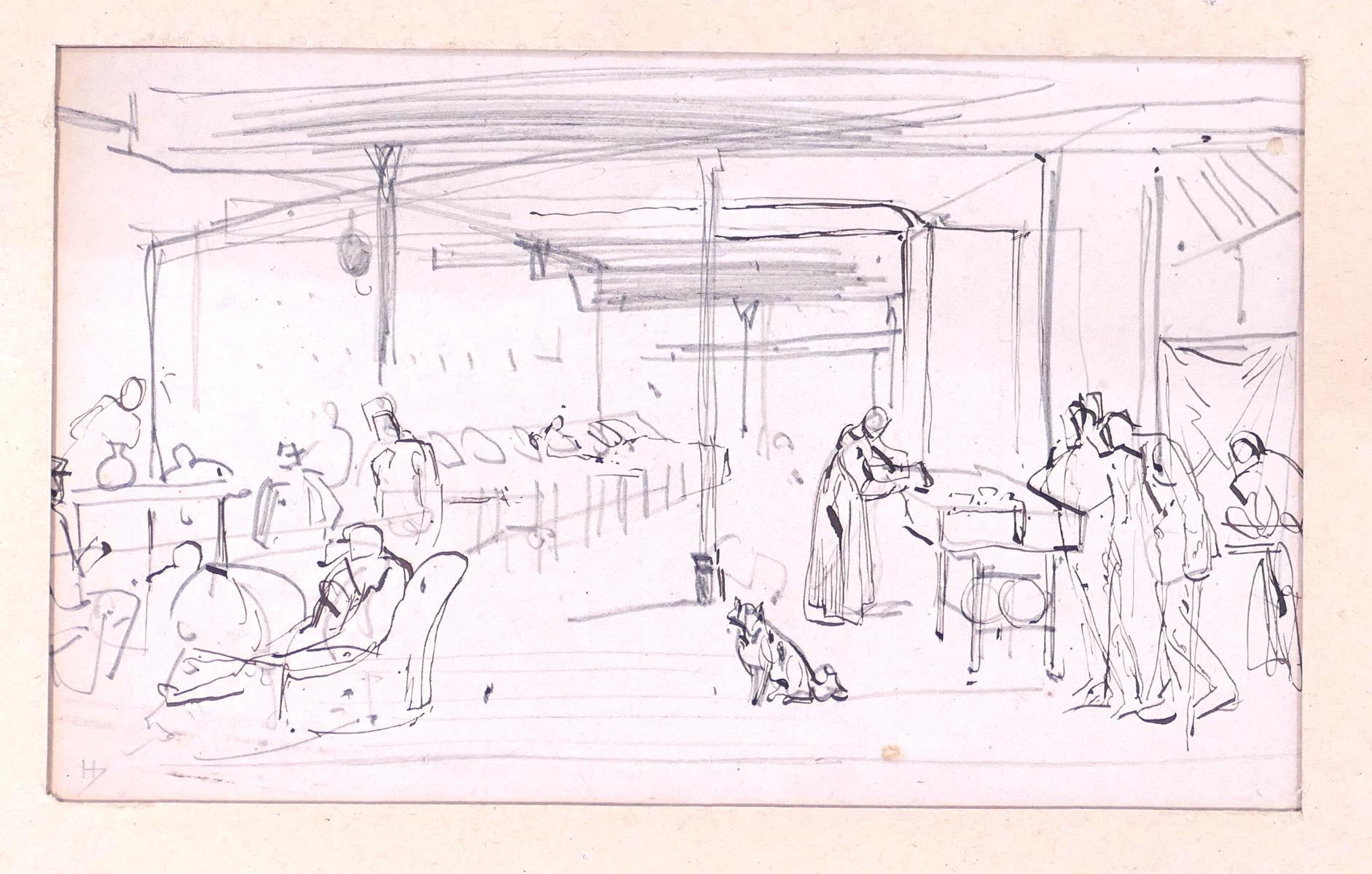 People in room with dog in the middle - Original Pencil and Ink by T. Johannot