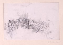 People in a room - Original Pencil by Tony Johannot - 19th Century