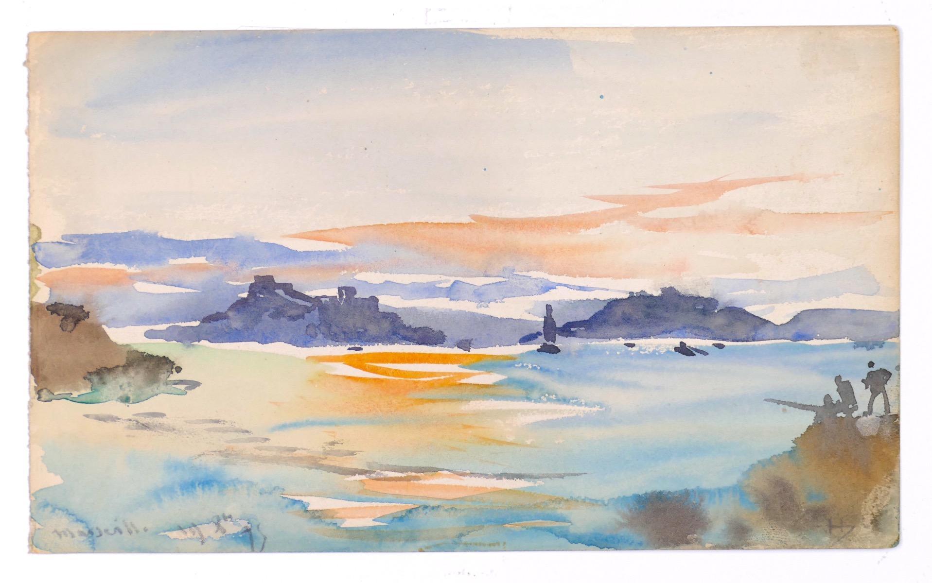Marseille 1875 - Original Watercolor by Tony Johannot - 19th Century