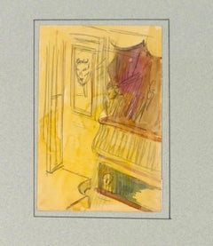 Theatrical sets - Original Pencil and Watercolor by Tony Johannot - 19th Century
