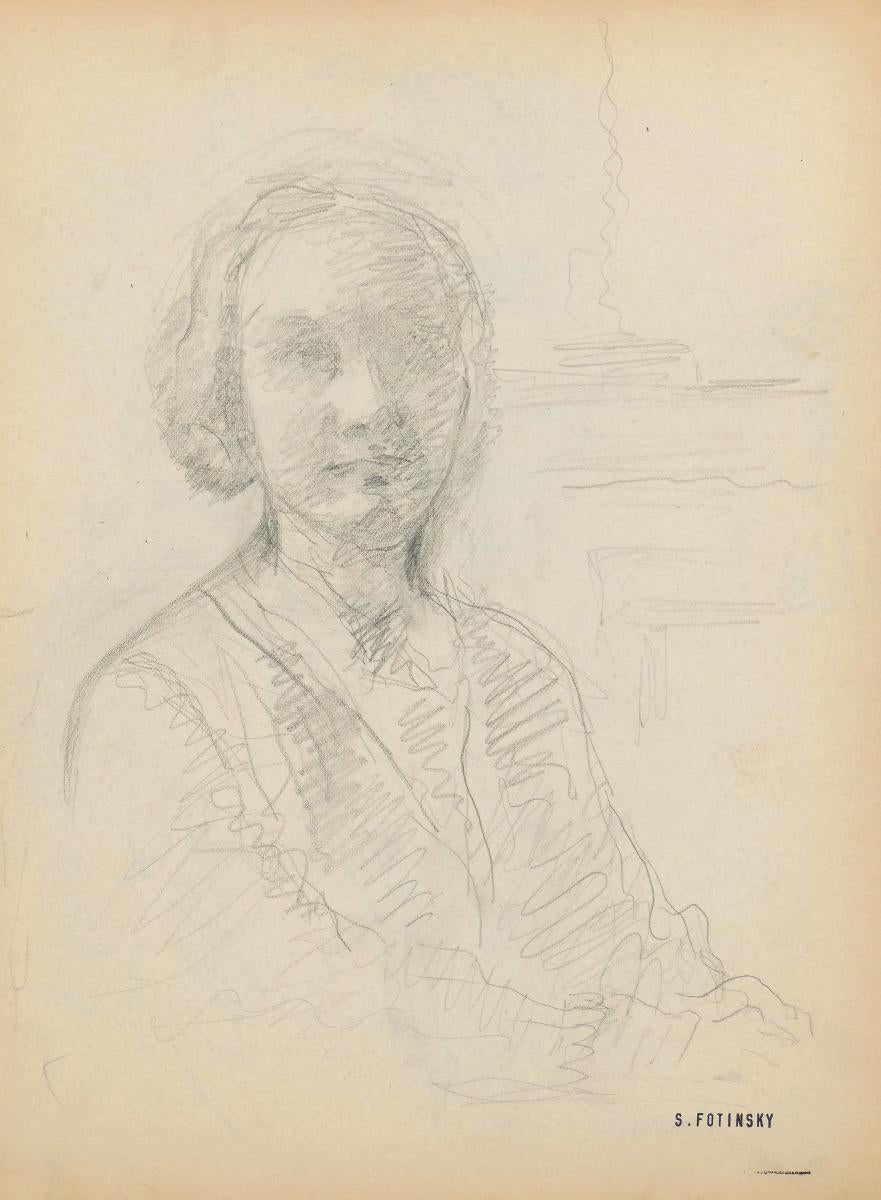 Portrait of a Woman - Original Pencil Drawing by S. Fontinsky - Mid-20th Century