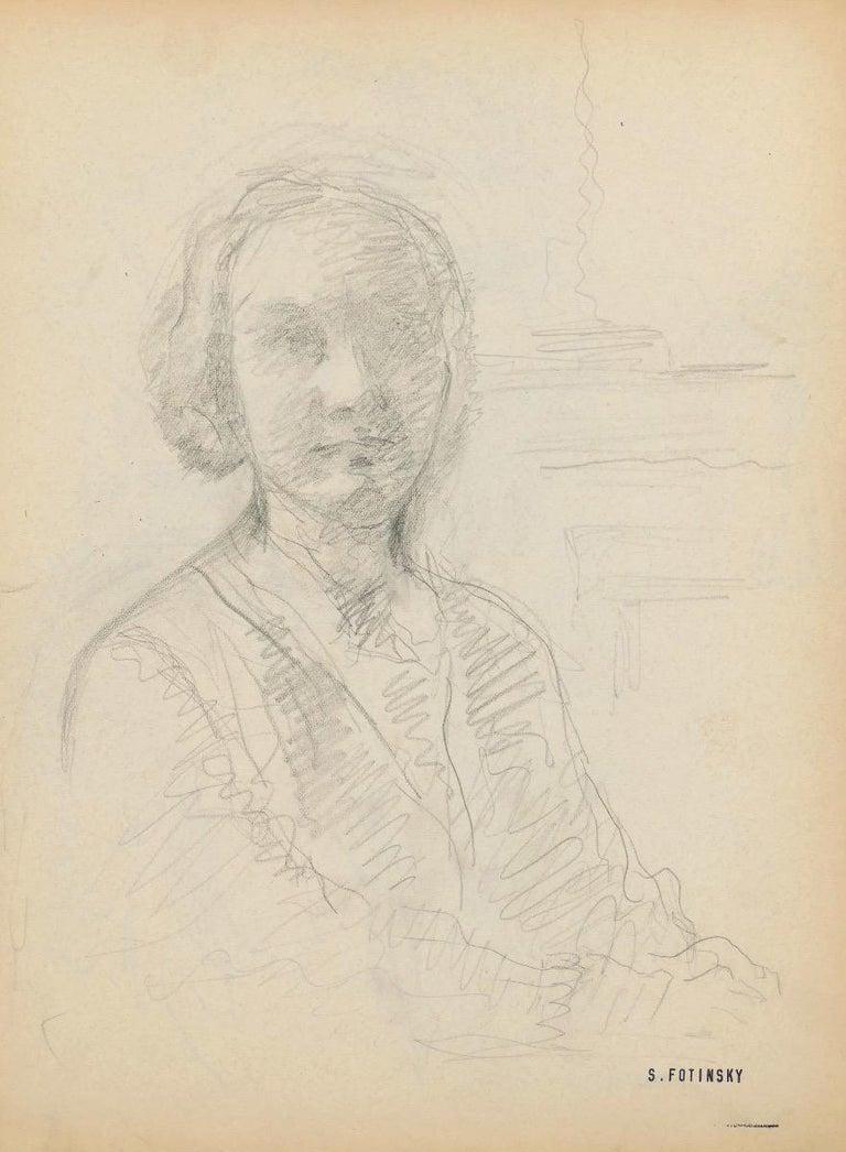 Serge Fontinsky Figurative Art - Portrait of a Woman - Original Pencil Drawing by S. Fontinsky - Mid-20th Century