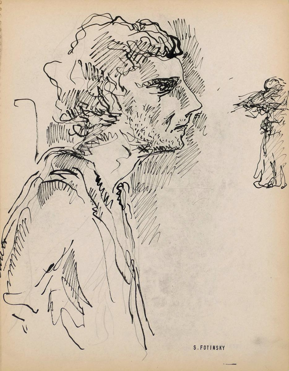 Portrait  - Original China Ink by Serge Fontinsky - Mid-20th Century