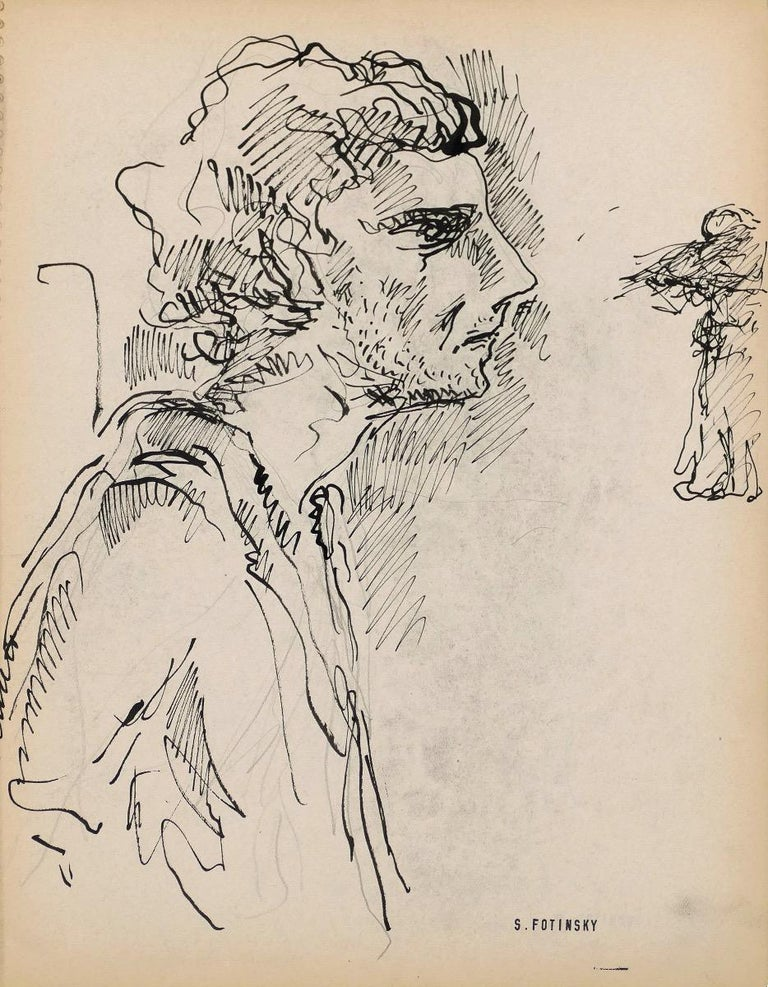 Portrait is an original china ink drawing realized by Serge Fontinsky (1887-1971) in the half of the 20th Century.   Good conditions, minor cosmetic wear.  Hand-signed on the lower margin.   Serge Fontinsky (1887-1971). Painter, watercolorist,