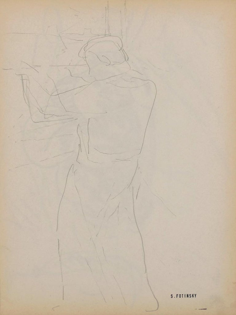 Figure of a Man is an original sketch pencil drawing realized by Serge Fontinsky (1887-1971) in the half of the 20th Century.   Good conditions, minor cosmetic wear.  Hand-signed on the lower margin.   Serge Fontinsky (1887-1971). Painter,