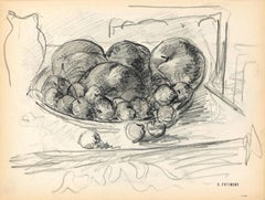 Fruit Basket - Original Pencil by Serge Fontinsky - Mid-20th Century