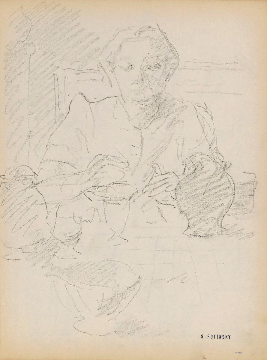 Portrait - Original Pencil by Serge Fontinsky - Mid-20th Century