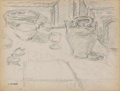 Still Life - Original Pencil Drawing by Serge Fontinsky - Mid-20th Century