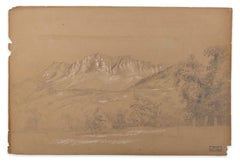 Alpine Landscape - Original Pencil Drawing by Marie Hector Yvert - 19th Century