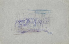 People in the Room - Original Ink Drawing by L. A. Gros - Early 20th century